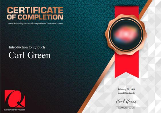 iQtouch certificate Dariy Queen